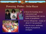 powering probes solar racer