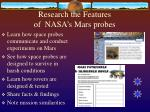 research the features of nasa s mars probes