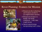 rover planning features for mission