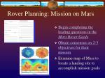 rover planning mission on mars