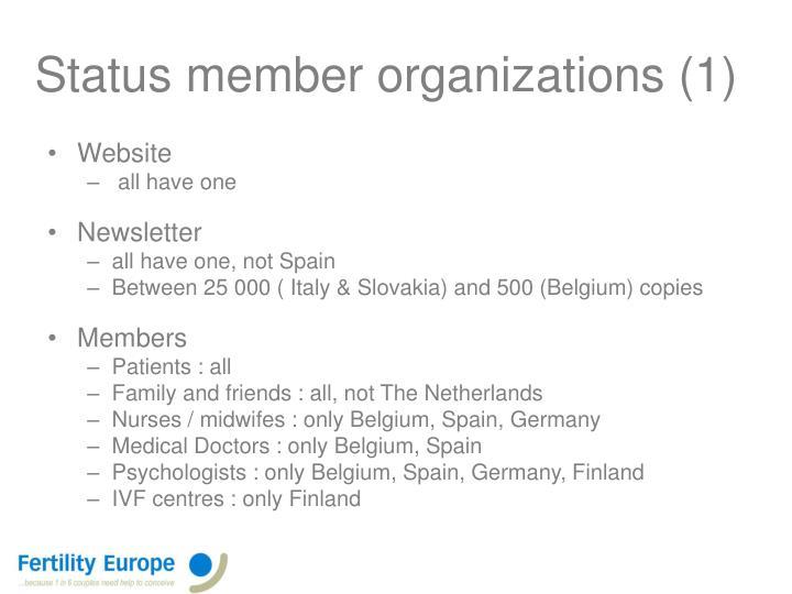 Status member organizations (1)