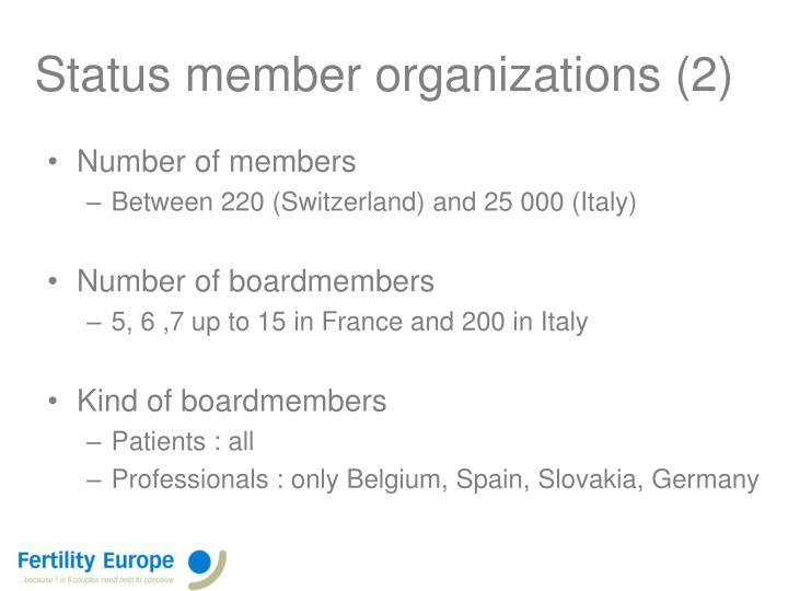 Status member organizations (2)
