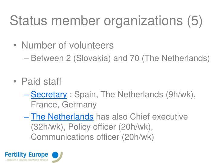 Status member organizations (5)