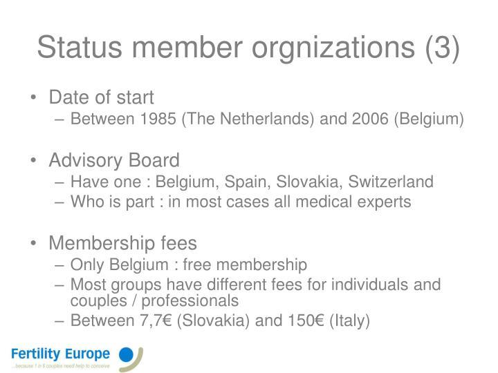 Status member orgnizations (3)