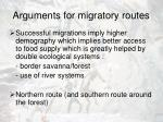 arguments for migratory routes