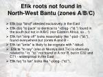 efik roots not found in north west bantu zones a b c