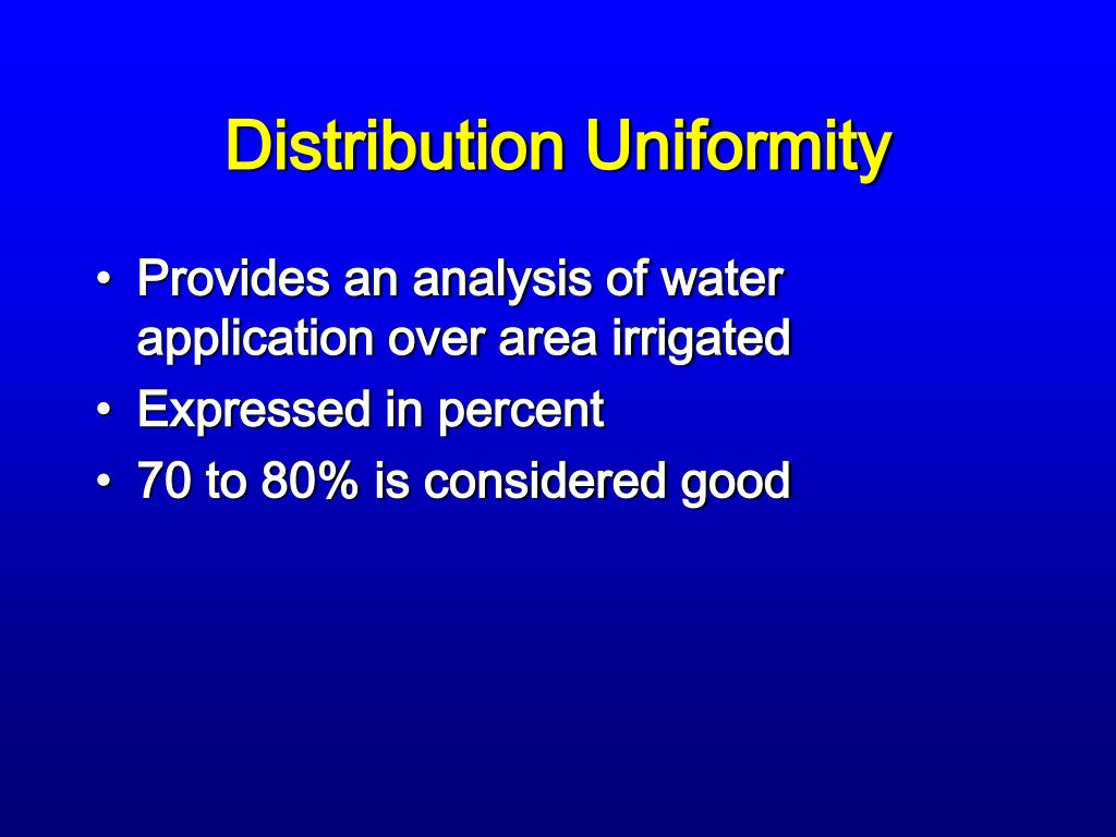 Distribution Uniformity