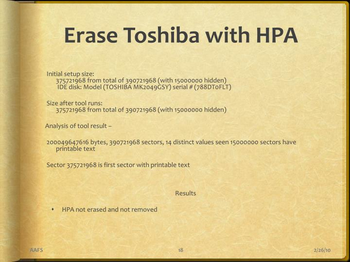 Erase Toshiba with HPA
