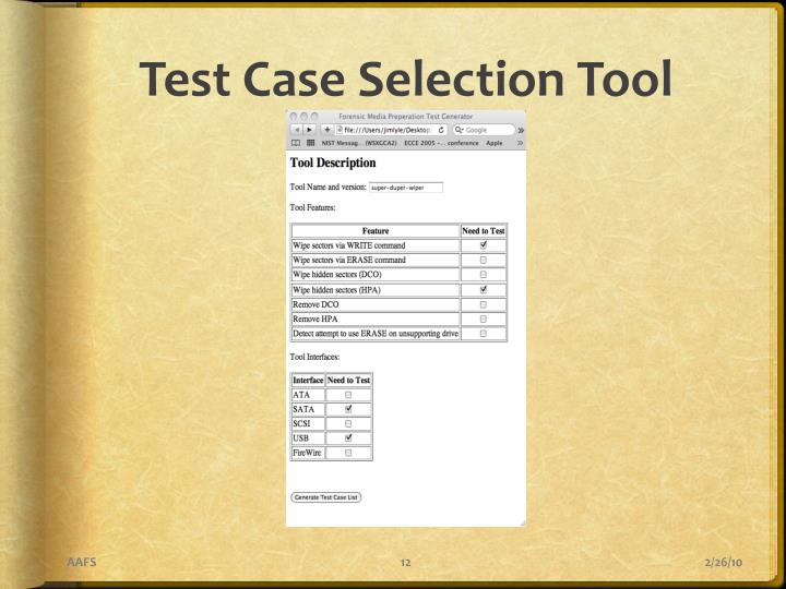 Test Case Selection Tool