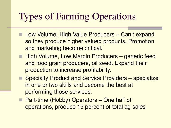 Types of Farming Operations