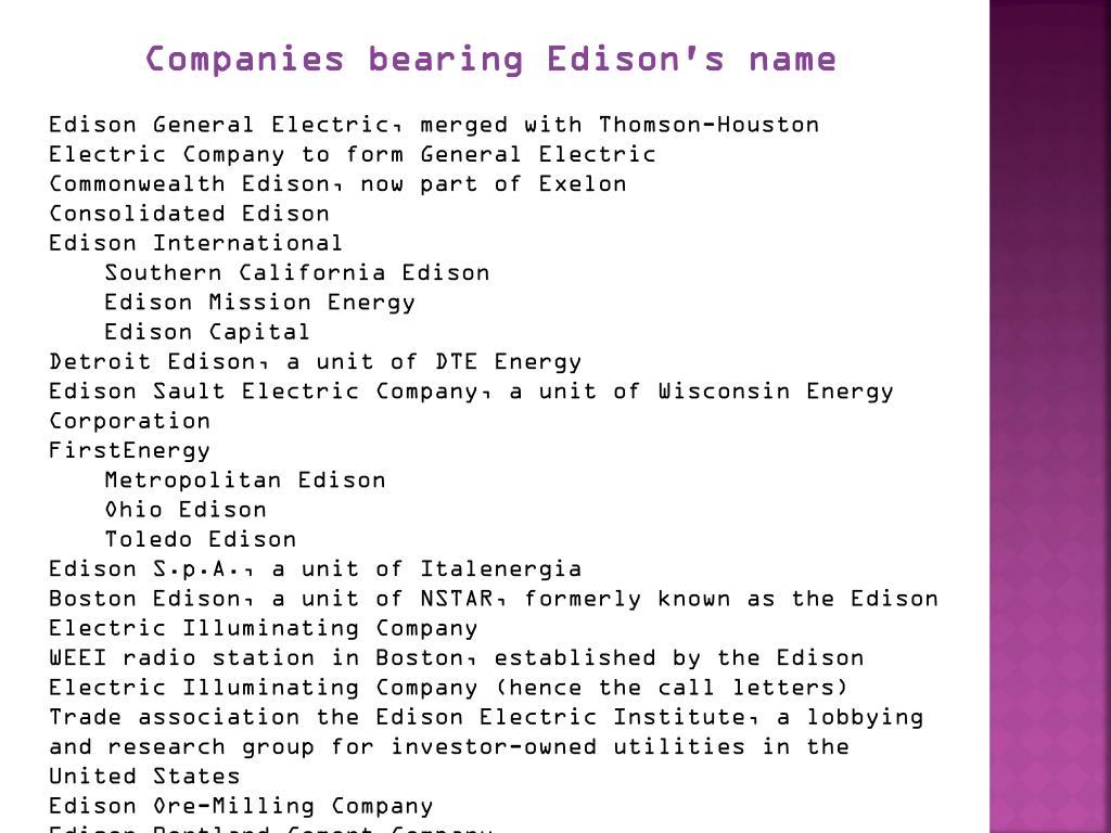 Companies bearing Edison's