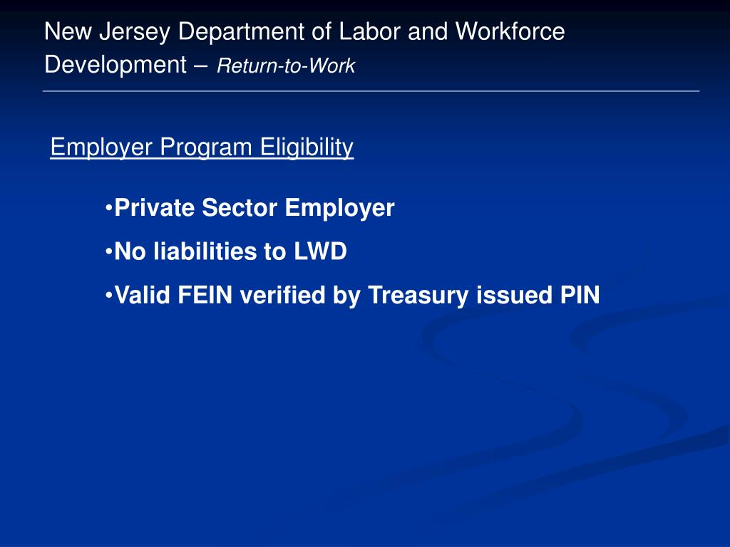 New Jersey Department of Labor and Workforce Development –