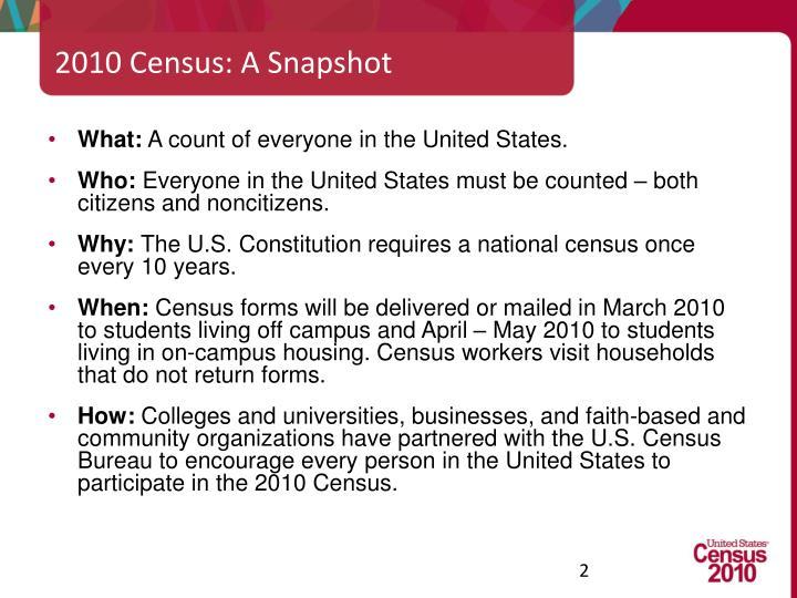 2010 Census: A Snapshot