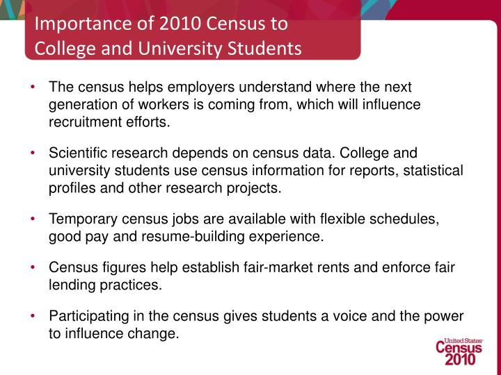 Importance of 2010 Census to College and University Students