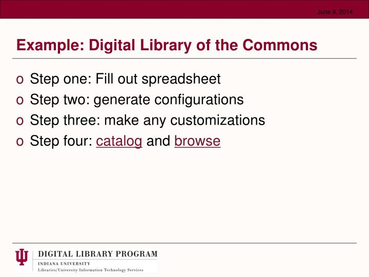 Example: Digital Library of the Commons