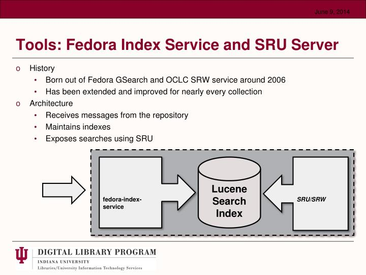 Tools: Fedora Index Service and SRU Server