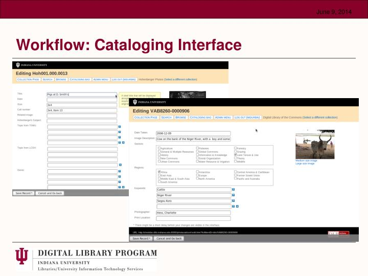 Workflow: Cataloging Interface