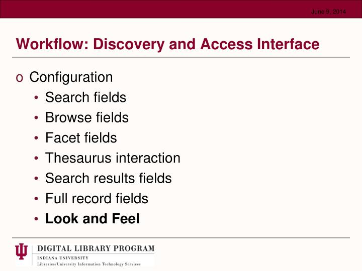 Workflow: Discovery and Access Interface