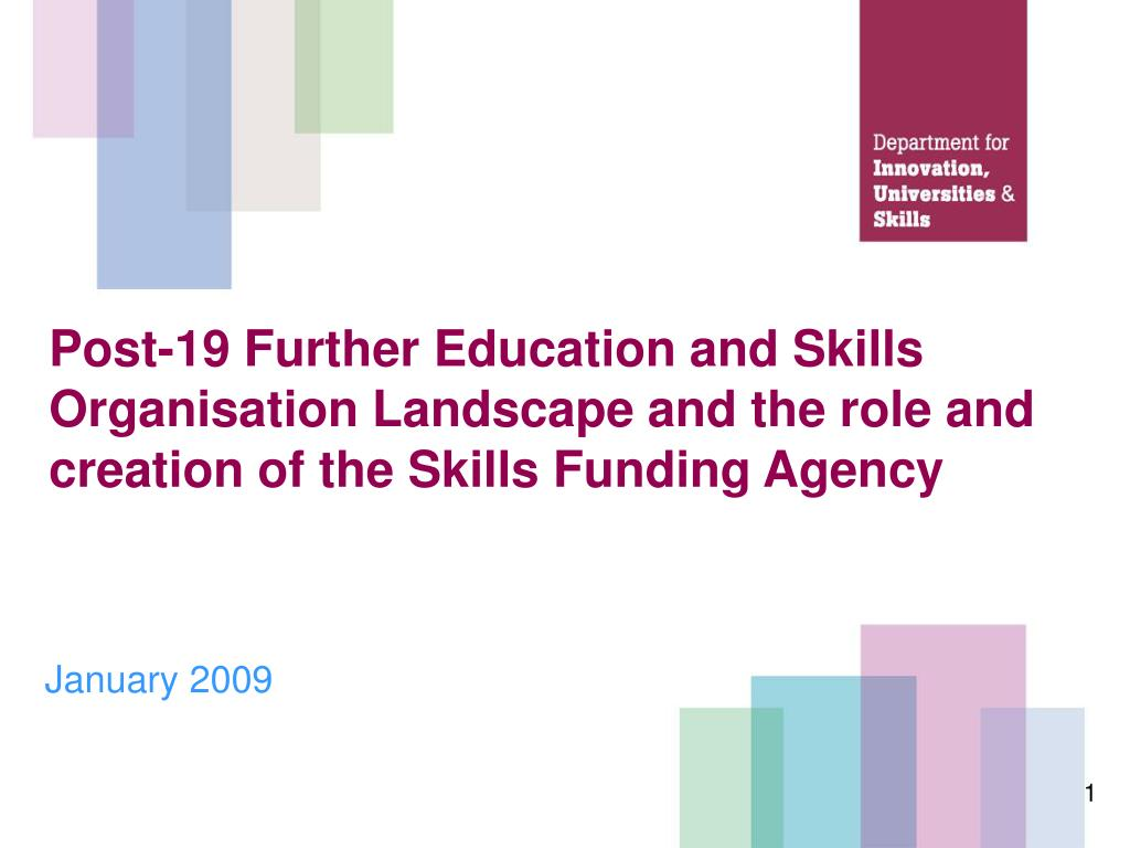 Post-19 Further Education and Skills Organisation Landscape and the role and creation of the Skills Funding Agency