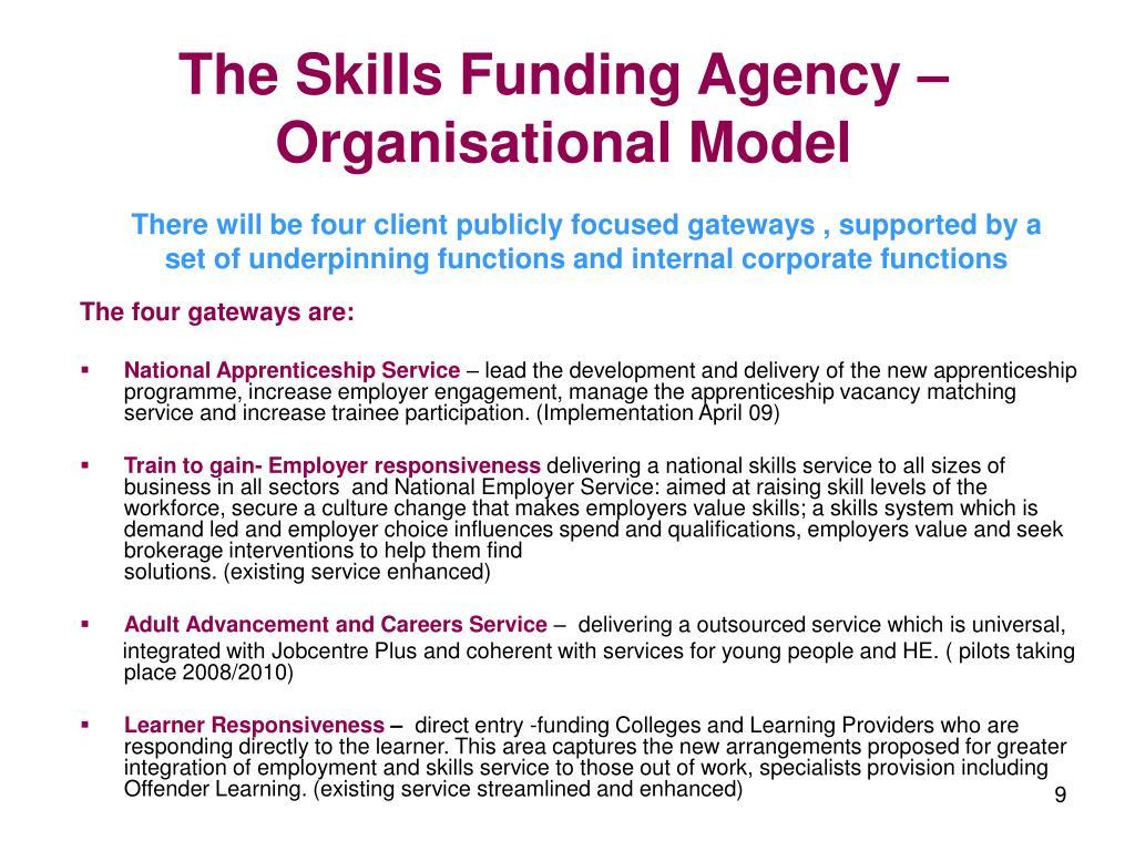 The Skills Funding Agency – Organisational Model