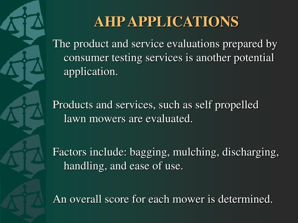AHP APPLICATIONS