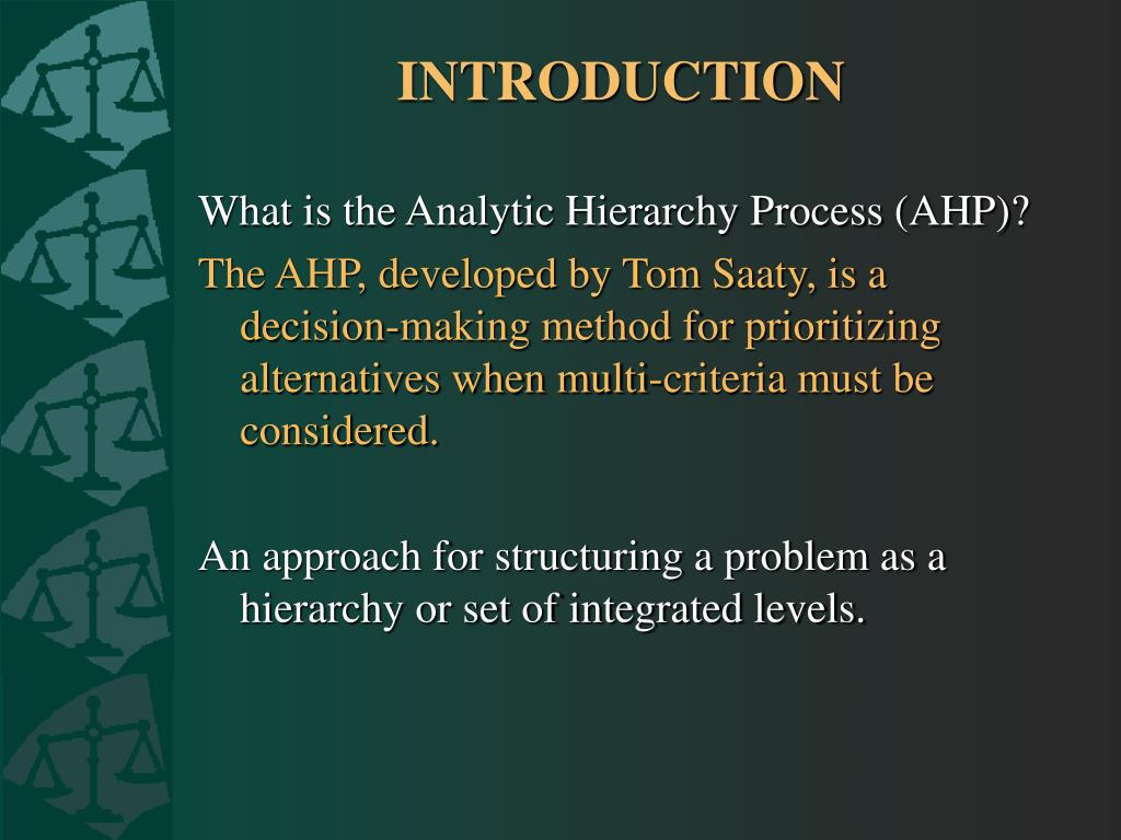 analytic hierarchy process by thomas saaty