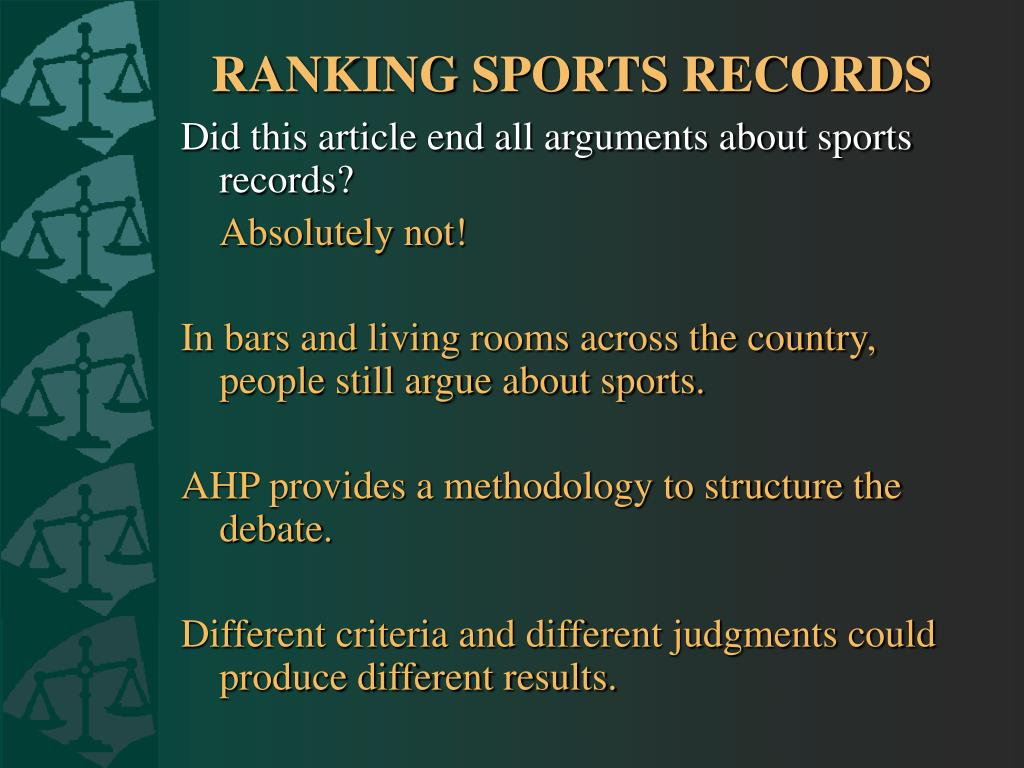 RANKING SPORTS RECORDS