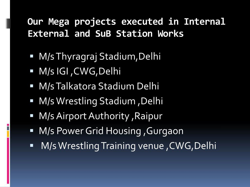 Our Mega projects executed in Internal External and