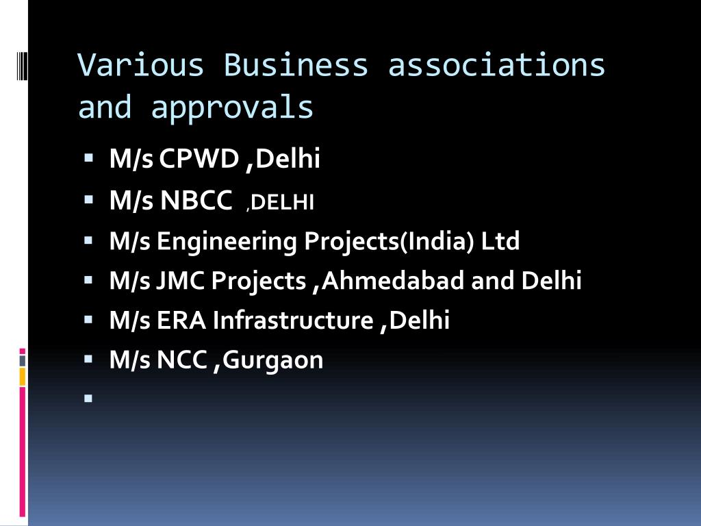 Various Business associations and approvals