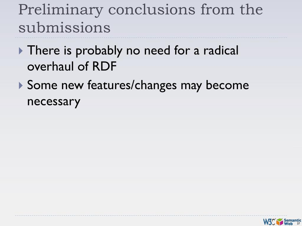 Preliminary conclusions from the submissions