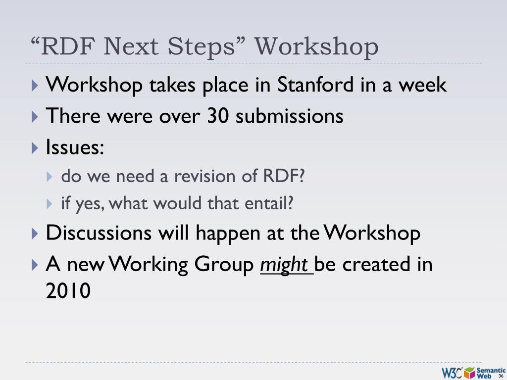 """RDF Next Steps"" Workshop"