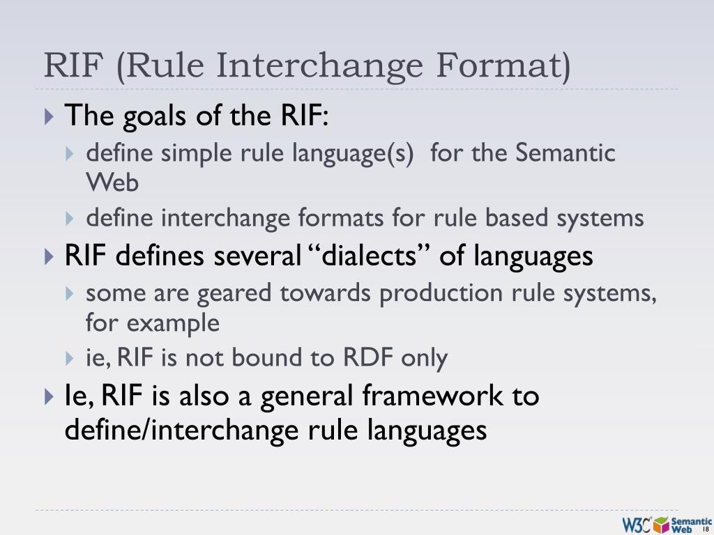 RIF (Rule Interchange Format)