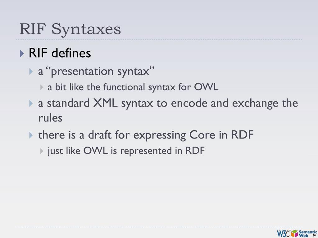RIF Syntaxes
