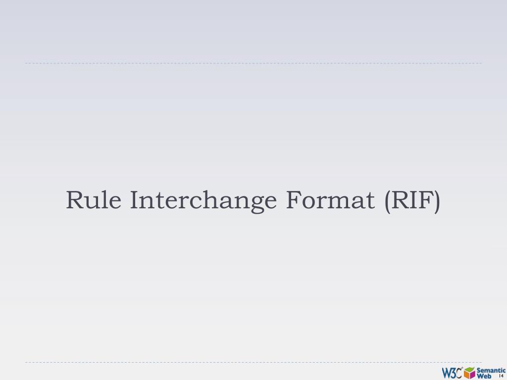 Rule Interchange Format (RIF)