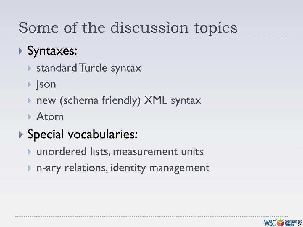 Some of the discussion topics
