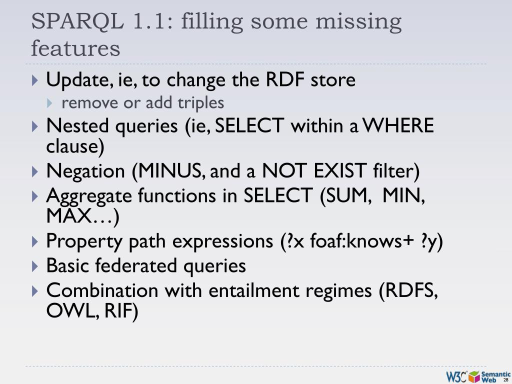 SPARQL 1.1: filling some missing features