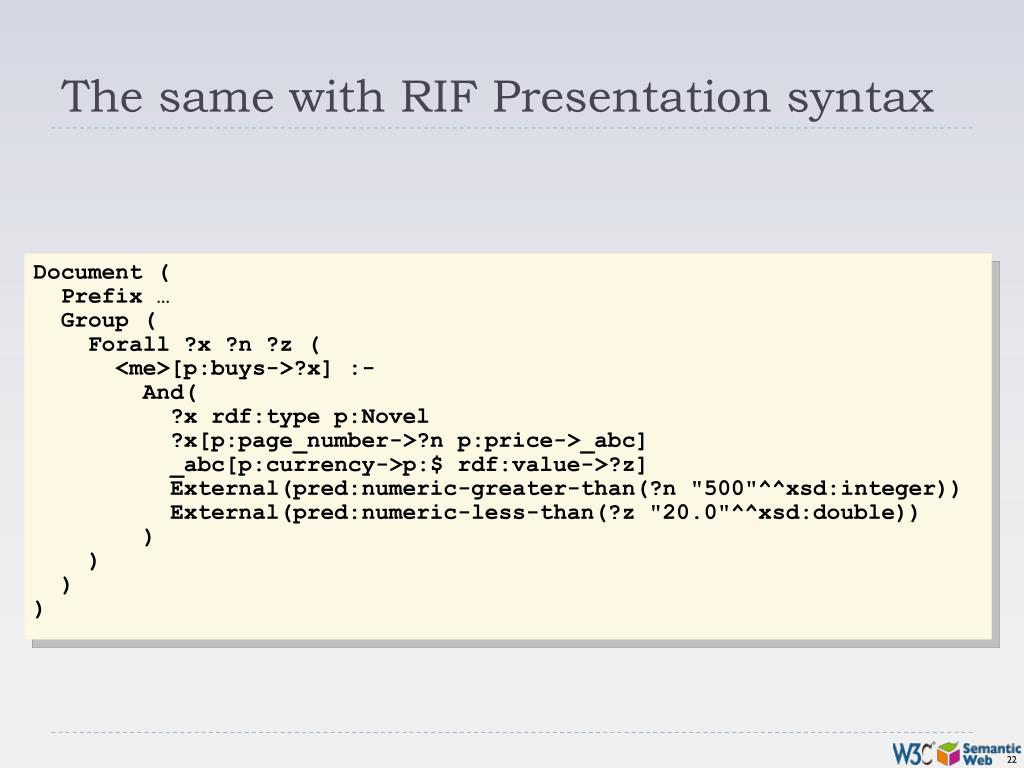 The same with RIF Presentation syntax