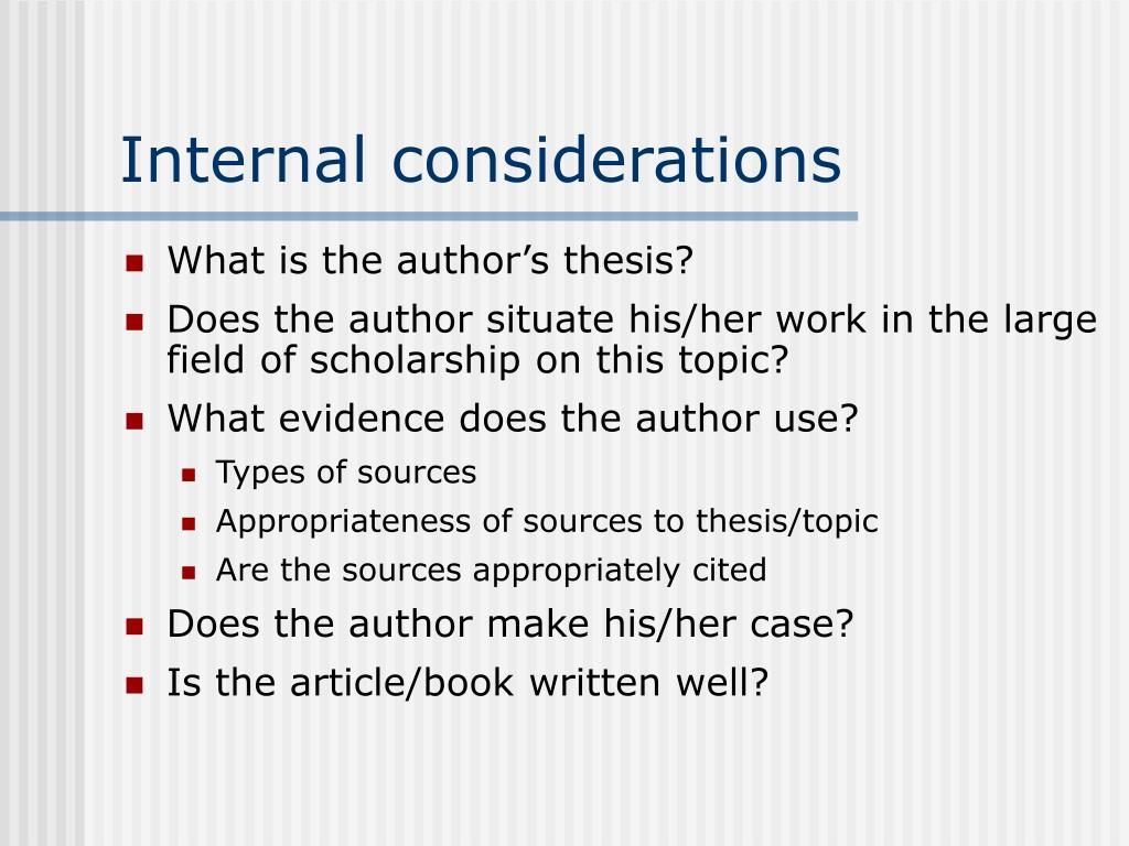 Internal considerations