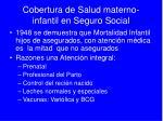 cobertura de salud materno infantil en seguro social