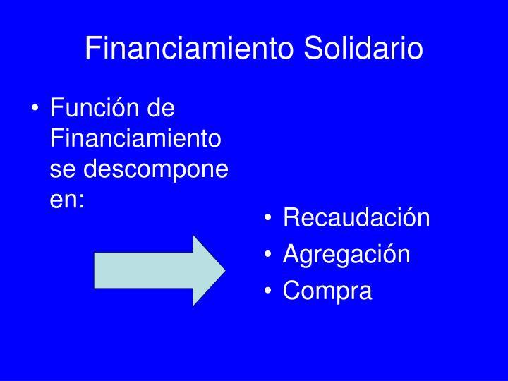 Función de Financiamiento se descompone en: