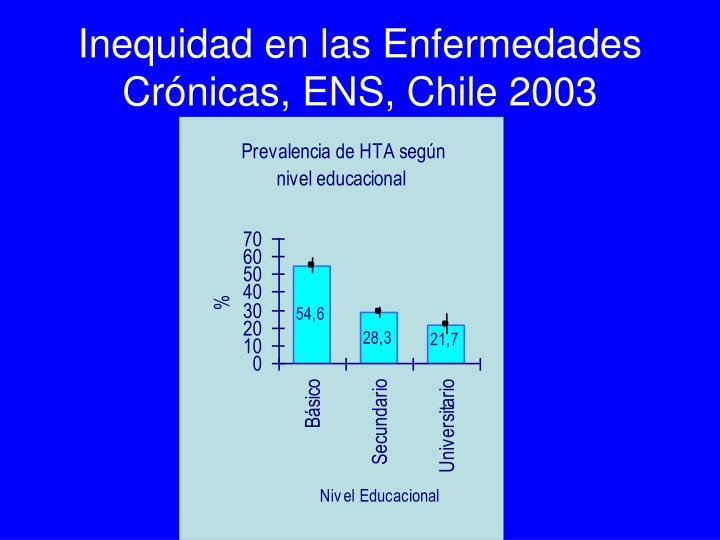 Inequidad en las Enfermedades Crónicas, ENS, Chile 2003
