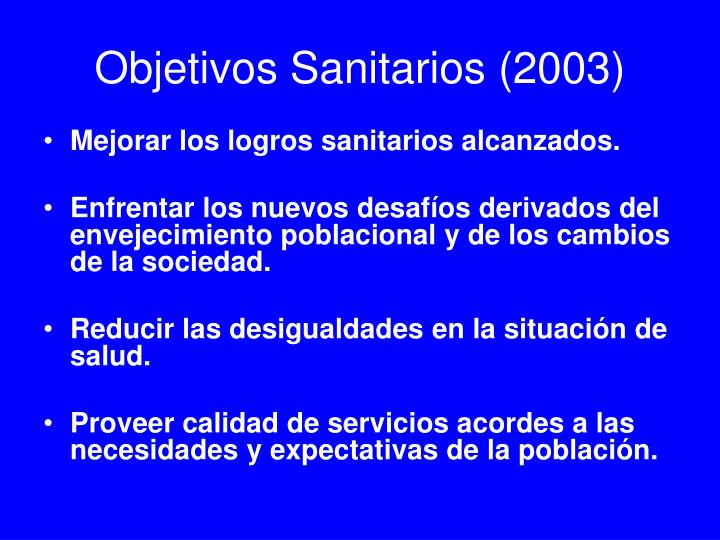 Objetivos Sanitarios (2003)