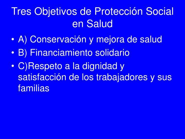 Tres Objetivos de Protección Social en Salud