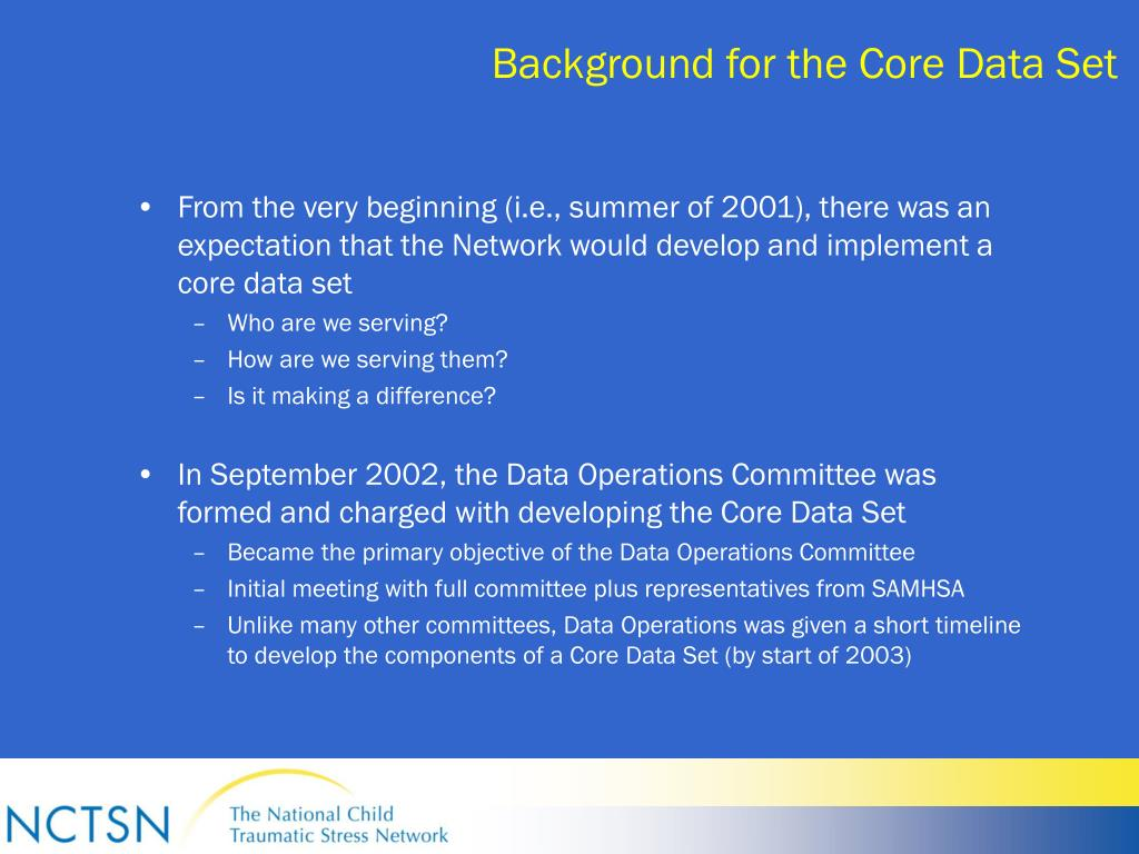 Background for the Core Data Set
