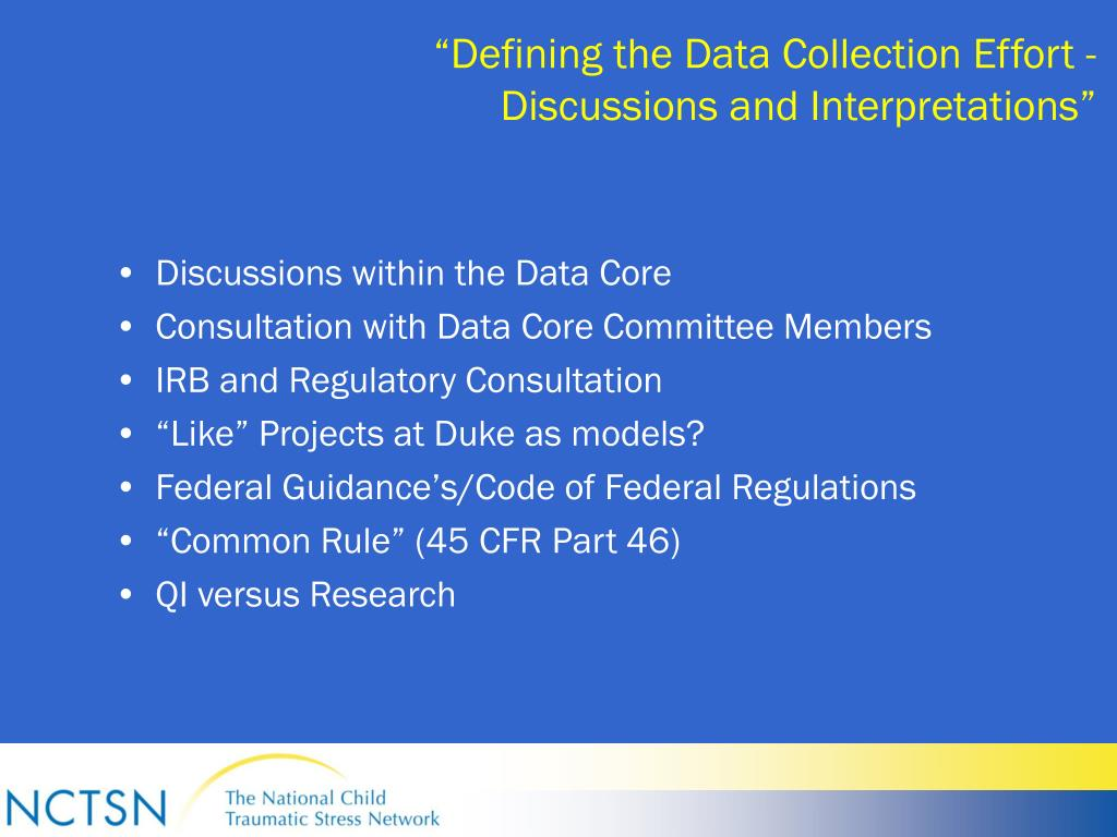 """""""Defining the Data Collection Effort -"""