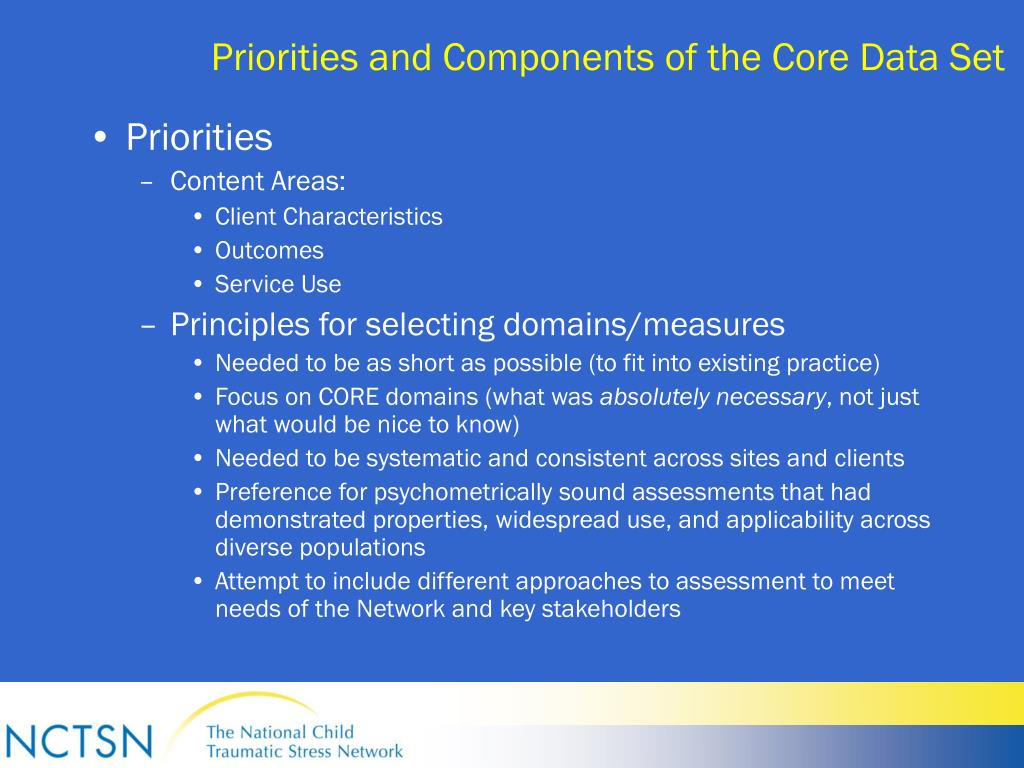 Priorities and Components of the Core Data Set