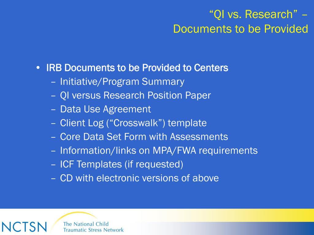 """QI vs. Research"" –"
