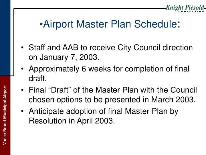 Airport Master Plan Schedule