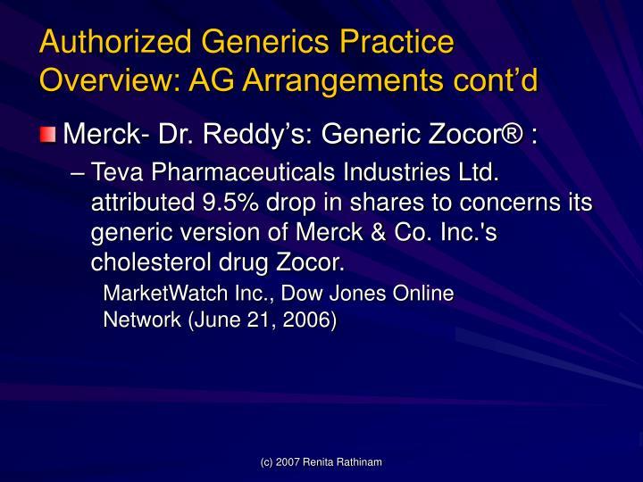 Authorized Generics Practice Overview: AG Arrangements cont'd