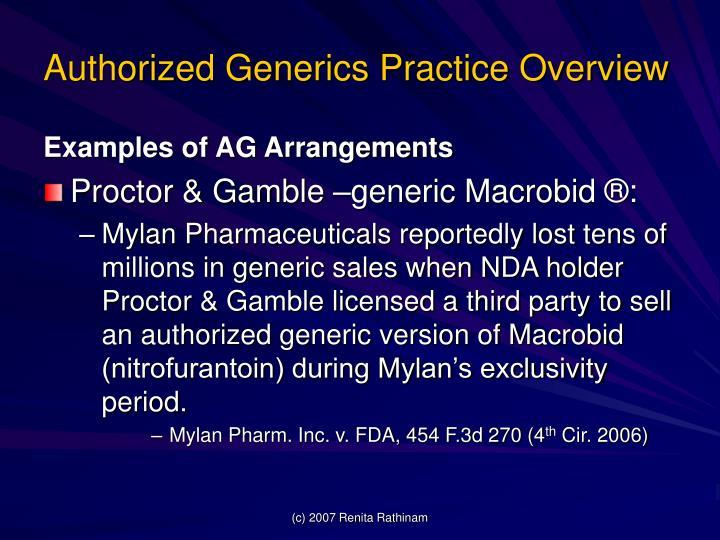 Authorized Generics Practice Overview